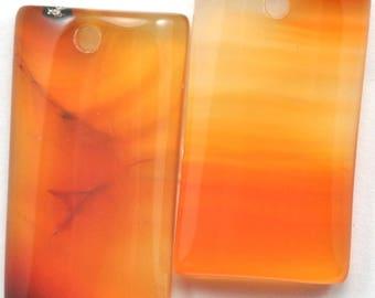 2x Orange Natural Agate Semi-precious Gemstone Pendant Jewellery Making