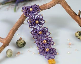 Purple Braided Bracelet / Lace Tatting Bracelet / Gift for her / Beaded bracelet