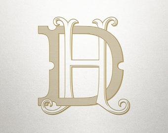Custom Vintage Initials - DH HD- Vintage Initials - Digital