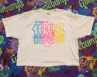 1989 Summer shirt Vintage Crop Top One-Size-Fits-All neon colors 80s