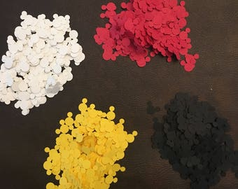 1000 piece Mickey Mouse confetti, red, black, white, yellow 250 each color medium. 1/2 inch table scatter