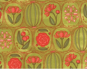 Light Green Floral Cameos from the Blushing Peonies collection by Robin Pickens for Moda Fabrics, Choose the Cut, 48611 11, Peony