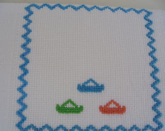 Baby boy burp cloth, 100% Cotton, Portuguese traditional diaper, Shower Gift, needlework, personalized, stroller blanket,Bath and Beauty,