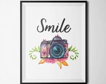 Camera Printable Watercolor Camera Photography Wall Art Studio Decor Antique Camera Print Camera Quote Print Smile Floral Camera Art Print