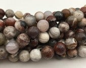 Nice Laguna Lace Agate Gemstone Smooth Round Loose Beads Size 6mm/8mm/10mm 15.5 Inches per Strand.GEM-171120-85
