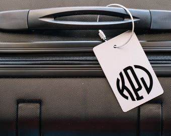 Luggage Tag - FREE SHIPPING, Silver and Black Personalized Luggage Tag, Monogram Luggage Tag, Luggage Tag, Custom Luggage Tag, Silver Tag