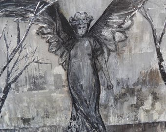 Guardian Angel, Angel Painting, Mourning Angel, Garden Angel, Bedroom Decor, Mother's Day Gift, Grief Angel