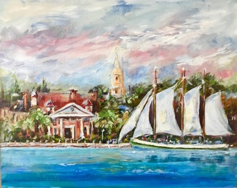 Original impressionist oil painting//20x16 inch//Charleston Battery//South Carolina//Schooner // wall art//home decor