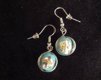 Earrings in silver with blown Lampwork beads