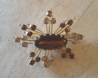 Absolutely Stunning Brown and Tan Rhinestone Brooch / Pin / Costume Jewelry