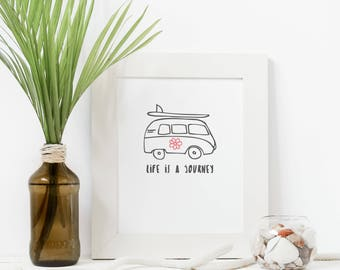 A4 Kombi Wall Art, hand illustrated Kombi Print, hand drawn wall decor, A4 Digital Wall Art, Life is a Journey Printable Poster for surfers