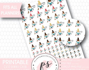 Cleaning To Clean Icon Printable Planner Stickers | Kawaii Cute Hand Drawn Doodle Chibi Girl | JPG/PDF/Silhouette Cut Compatible Files
