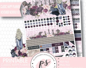 Game of Thrones (GOT) November Monthly View Kit Printable Planner Stickers (Classic Happy Planner) | JPG/PDF/Silhouette Compatible Cut File