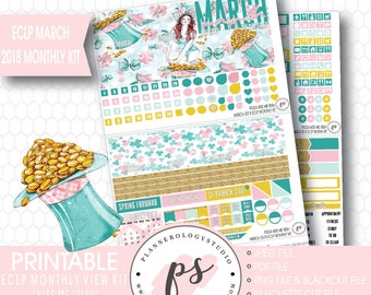 Kiss Me Irish St Patricks Day March 2018 Monthly View Kit Digital Printable Planner Stickers (for Erin Condren)|JPG/PDF/Silhouette Cut File