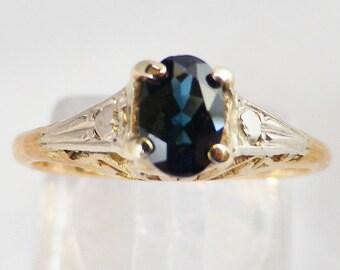 Filigree Art Deco Sapphire engagement or promise ring