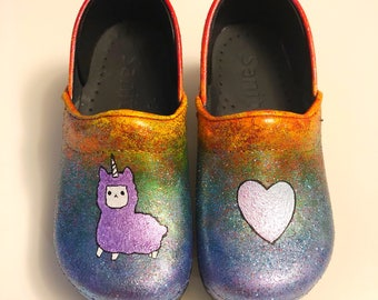 Rainbow Llamacorn Clogs (because why not?)