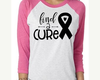 ON SALE Find A Cure Shirt - Breast Cancer Shirt - Find A Cure Pink Raglan - Cancer Survivor Shirt - Fight Cancer Shirt - Find A Cure Tee