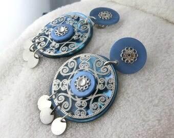 Earring clip blue Enzo (made in France)