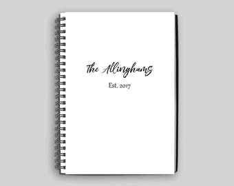 Wedding Planning Notebook ~ Wedding Guestbook ~ Custom Wedding Diary ~ Last Name Established Notebook ~ Gift for Bride