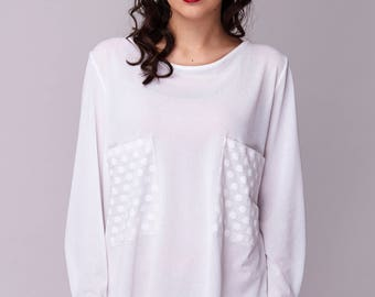 White ot black bllouse, Long Sleeve Top, Oversize top, White Blouse, Black blouse, Maxi Top