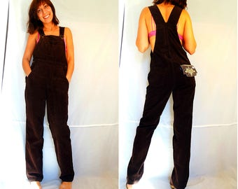 Womens bib overalls loose corduroy overalls size XS brown loose pants oversized overalls bohemian wide leg jumpsuit vintage 90s dead stock