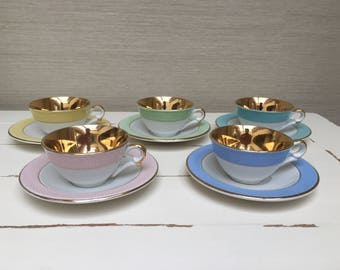 French Vintage Tea Cups & Saucers - Poreylor