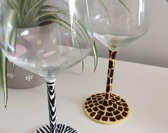Animal print, giraffe, zebra, christmas gift, hand painted, gift for her, birthday gift, wine glasses, glamour, wildlife, home decor