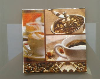 set of 2 coffee beans, coffee cream or small paper napkins black
