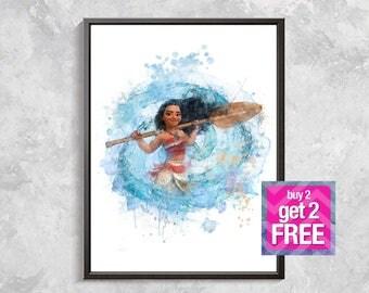 Moana Print, Moana wall decor, Moana Watercolor, Disney Art Print, Moana Printable Art, Princess Art, Moana birthday party, digital download