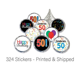50th Birthday Party Favor Sticker Decorations for Hershey Kisses, Favor Bags, Envelope Seals, Candy Decorations (Set of 324)