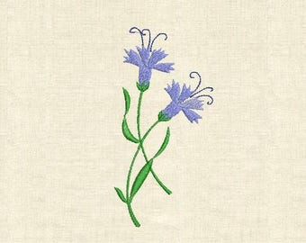Machine embroidery cornflower, carnation, wild flowers