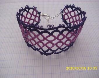 Mauve and purple tatting /dentelle bracelet