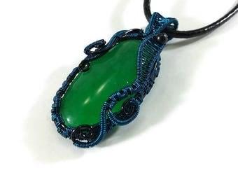 Wire Wrap, Necklace, Blue, Black, Copper, Green, Gemstone, Aventurine, Gift