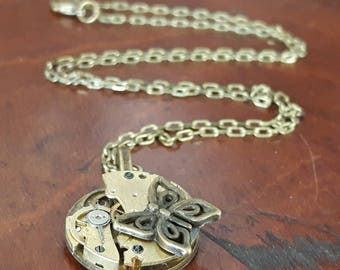 Vintage Watch Movement Butterfly Pendant