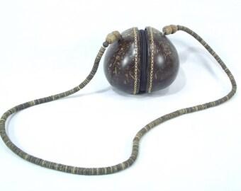 Vintage Coconut hand bag, hand made