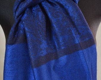 Pashmina Scarf Shawl for Women Royal BLUE / BLACK
