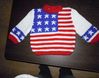 sweater with American flag pattern
