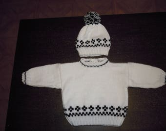 baby sweater size 3 months and a matching Hat