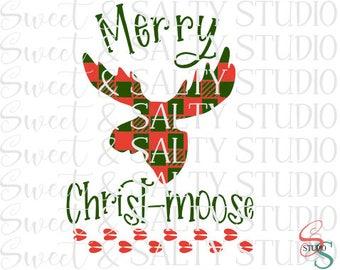 merry christ-moose (2 variations) digital file