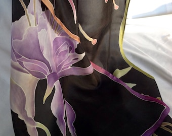 Silk scarf - hand painted with three fuchsias in plum, green and pink
