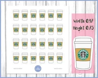 Starbucks Stickers | Coffee Stickers | Planner Stickers | Journal Stickers | Diary Stickers | Erin Condren Stickers | Kikki K Stickers