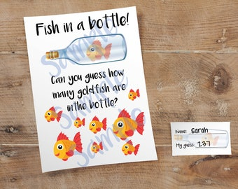 How Many Fish In the Bottle Guessing Game // Nautical Party // Baby Shower // 5 x 7 and 8.5 x 11 // Instant Digital Download PDF