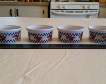 set of 4 vintage checkerboard theme lobster melted butter dishes / bowls - ocean seafood nautical fishing condiments crab shrimp coastal