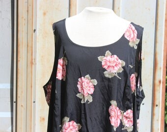 90's Plus Size Black Floral Maxi Dress - 2XL/3XL