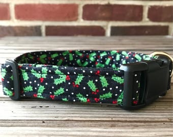 Christmas Dog Collar, Fabric Dog Collar