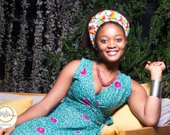 African Print Dress/ Ankara Dress/ Green