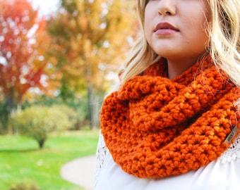Orange infinity scarf, burnt orange, infinity scarf, cowl scarf, knitted scarf, knitted cowl scarf