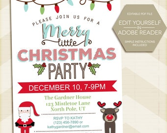 Christmas Party Invitation / Instant Download / 5x7 / digital printable / Holiday Party / Merry little Christmas / Santa