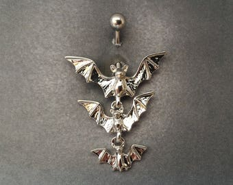 belly button ring Three Bats