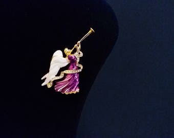 pin brooch Angel Playing Trumpet